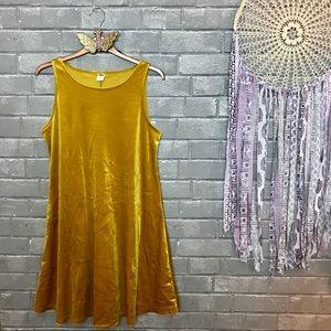 old navy // marigold yellow velvet skater dress s